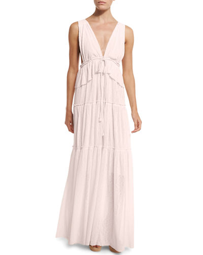 Sleeveless Tiered Voile Maxi Dress, Light Pink