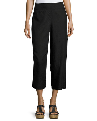 Linen Cropped Wide-Leg Pants, Petite