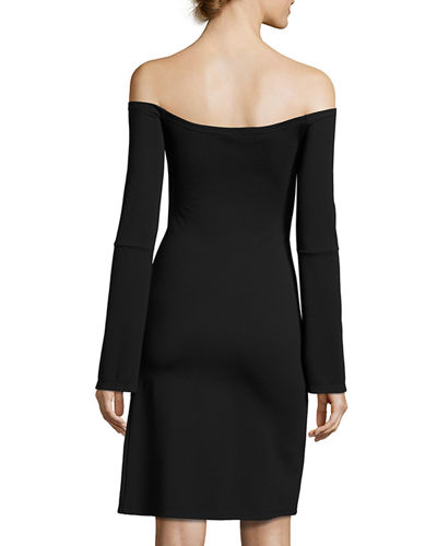 Sterre Off-the-Shoulder Slit Mini Dress