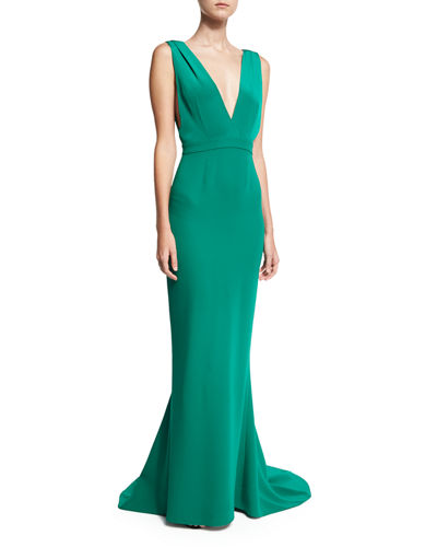 Deep V Sleeveless Tailored Gown