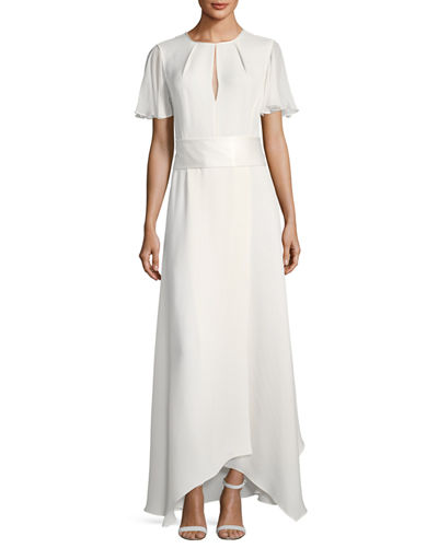 Flutter-Sleeve High-Neck Gown
