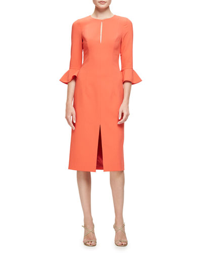 3/4-Sleeve Stretch Crepe Sheath Dress, Canyon Coral