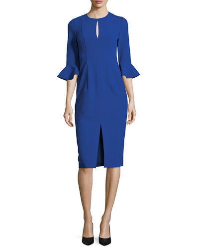 3/4-Sleeve Stretch Crepe Sheath Dress