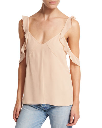 Cheryl Sleeveless Ruffle-Trim Silk Blouse