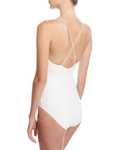 Front-Tie Solid One-Piece Swimsuit