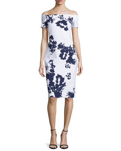Chiara Boni La Petite Robe Off-the-Shoulder Floral Cocktail