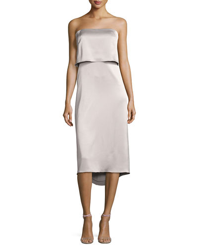 Strapless Satin Popover Cocktail Dress