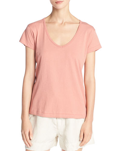 Peruvian Cotton Jersey V-Neck Tee