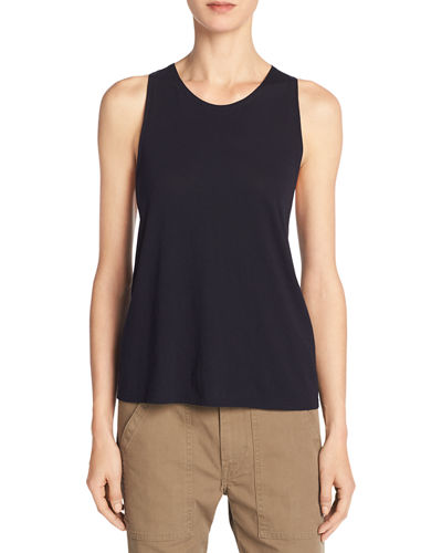 Cotton-Silk Twist-Back Tank Top