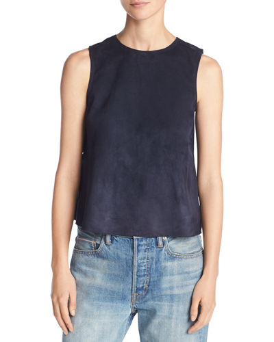 Cropped Lamb Suede Shell