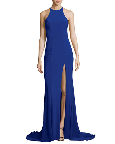 Sleeveless Open-Back Crepe Gown