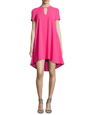 Trina Turk Floramaria Crepe Keyhole Swing Dress