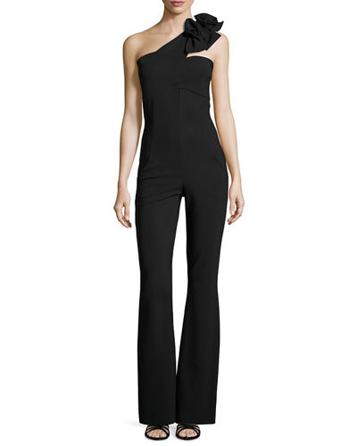 Beba One-Shoulder Jersey Flare-Leg Jumpsuit