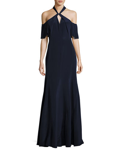 Kobi Halperin Gayle Cold-Shoulder Silk Crepe de Chine