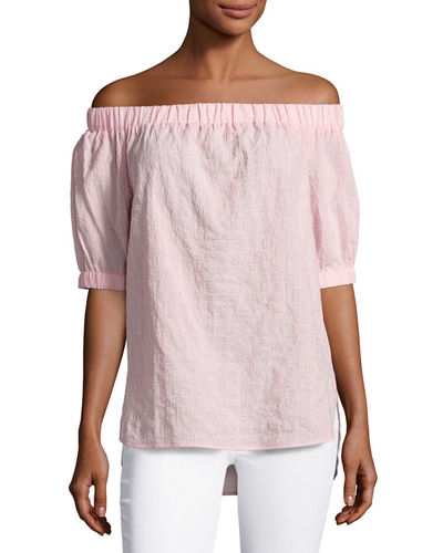 Off-the-Shoulder Seersucker Top