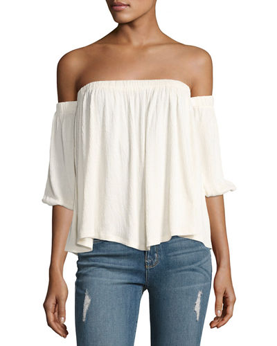 Gioannia Off-The-Shoulder Textured Top