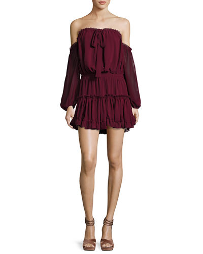 MISA Los Angeles Indi Off-the-Shoulder Mini Blouson Dress