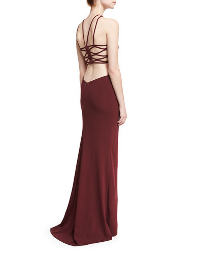 Sleeveless Crepe Lattice Gown