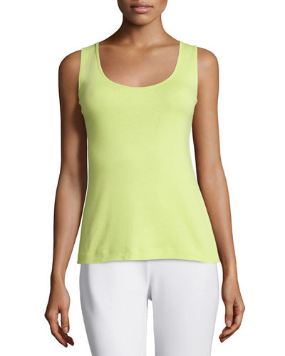 Joan Vass Cotton Ribbed Tank Top