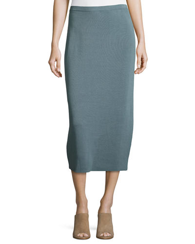 Washable Wool Midi Pencil Skirt, Petite