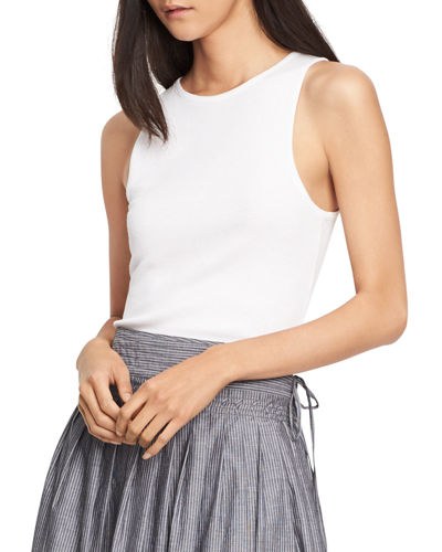 High-Neck Shirttail Tank Top