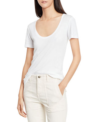 VINCE Scoop-V-Neck Short-Sleeve Tee, White at Neiman Marcus