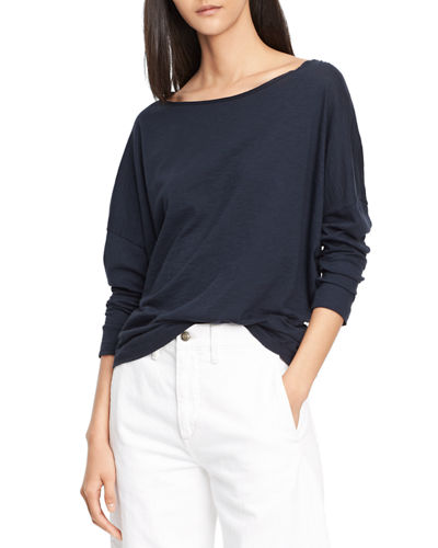 Drop Shoulder Long-Sleeve Boat-Neck Tee