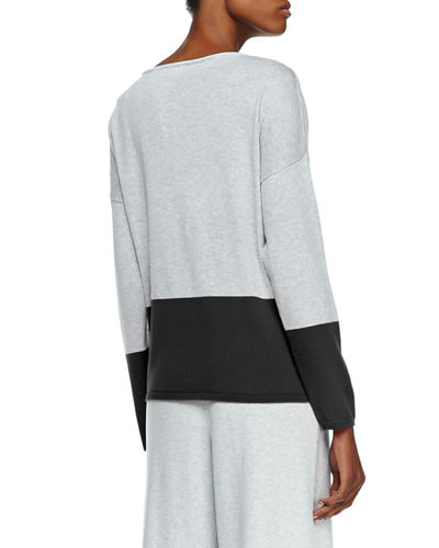Long-Sleeve Colorblocked Cotton Top