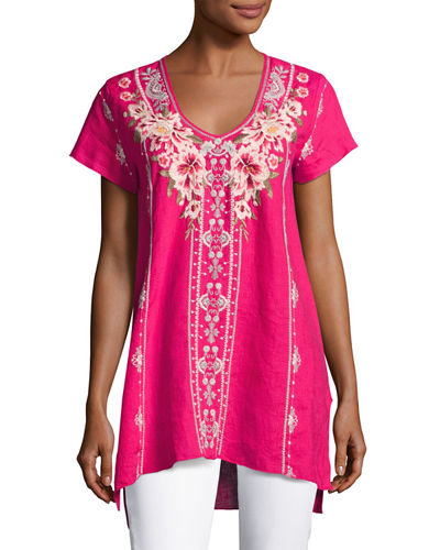 Christine Embroidered Linen Drape Top, Petite