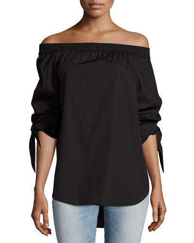 Jill Off-the-Shoulder Tie-Sleeve Blouse