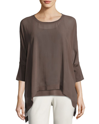 Sheer Round-Neck Silk Georgette Top