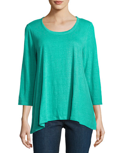 3/4-Sleeve Scoop-Neck Organic Linen Tee, Plus Size