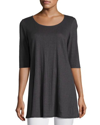 Eileen Fisher Half - Sleeve Linen Jersey Layering Tunic, Plus Size