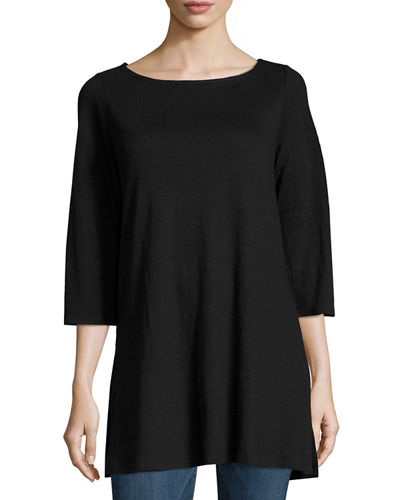 Eileen Fisher 3/4-Sleeve Organic Linen Tunic