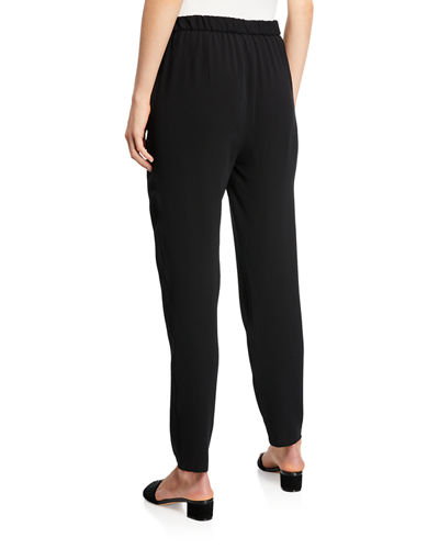 Silk Georgette Crepe Slouchy Ankle Pants, Plus Size