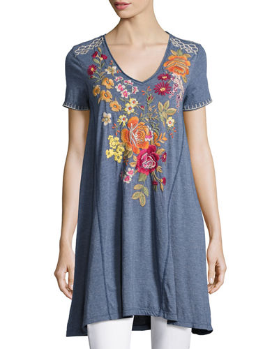 Karlotta Embroidered Drape Tunic-Length Tee