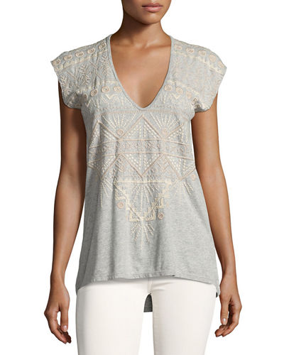 Colette Embroidered V-Neck Tee, Plus Size
