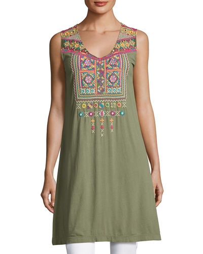 Dita Embroidered Long Tunic, Plus Size