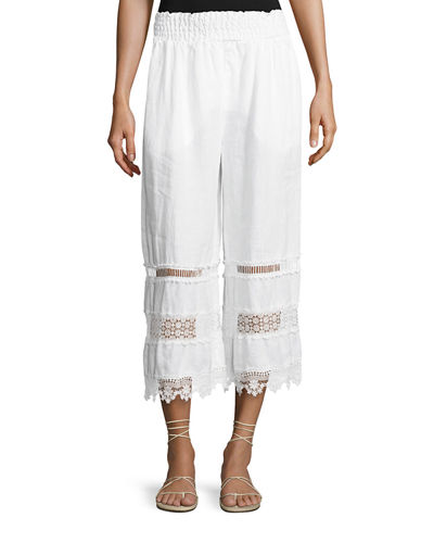 Linen Crochet-Trim Cropped Pants