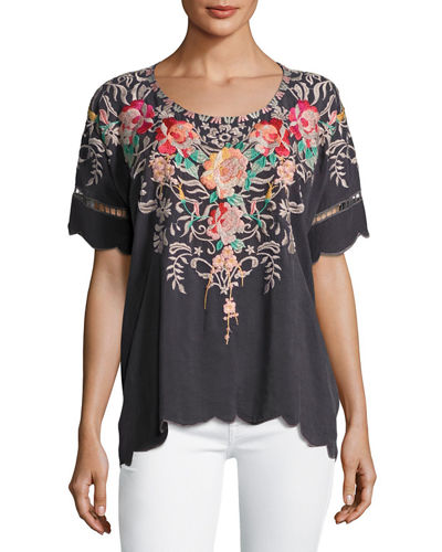 Jenn Embroidered Short-Sleeve Top