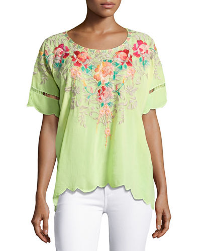 Jenn Embroidered Short-Sleeve Top, Plus Size