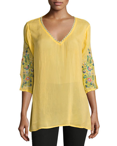 Nina V-Neck Georgette Blouse, Plus Size
