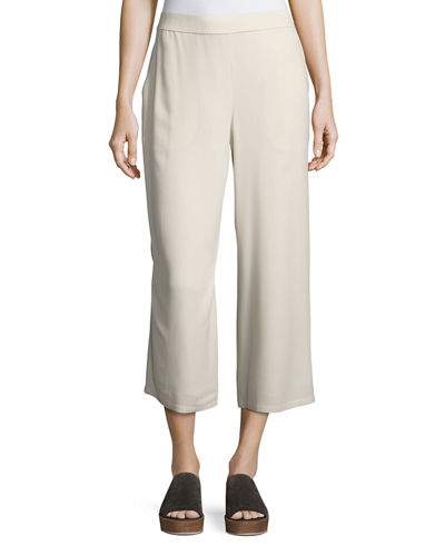 Silk Crepe Wide-Leg Ankle Pants