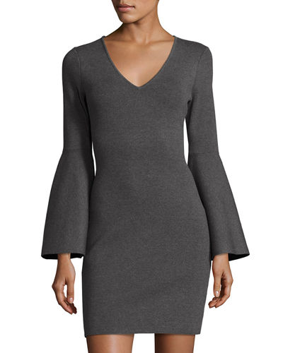 V-Neck Bell-Sleeve Stretch-Knit Minidress