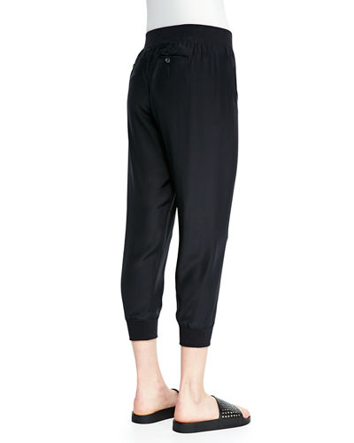 Cropped Pants W/ Elastic Cuffs