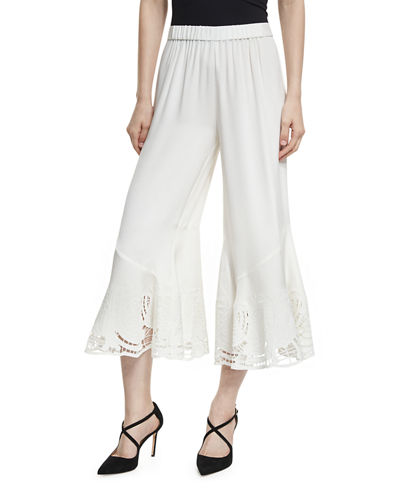 Lainey Silk Lace-Hem Gaucho Pants