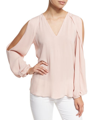 Caroline V-Neck Split-Sleeve Cold-Shoulder Blouse