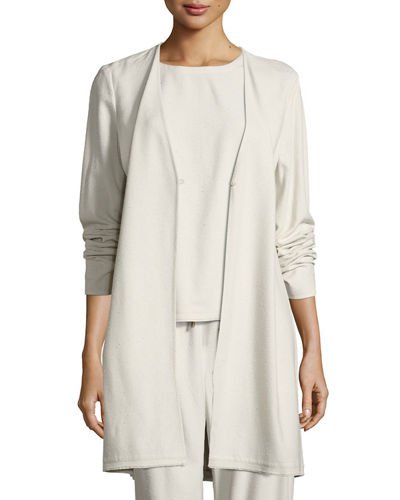 V-Neck Silk Noil Long Jacket