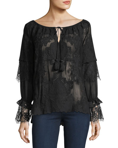 Teslin Tie-Neck Sheer Lace Blouse