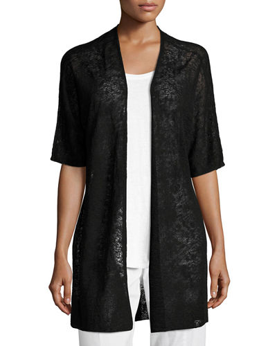 Eileen Fisher Half-Sleeve Sheer Long Cardigan